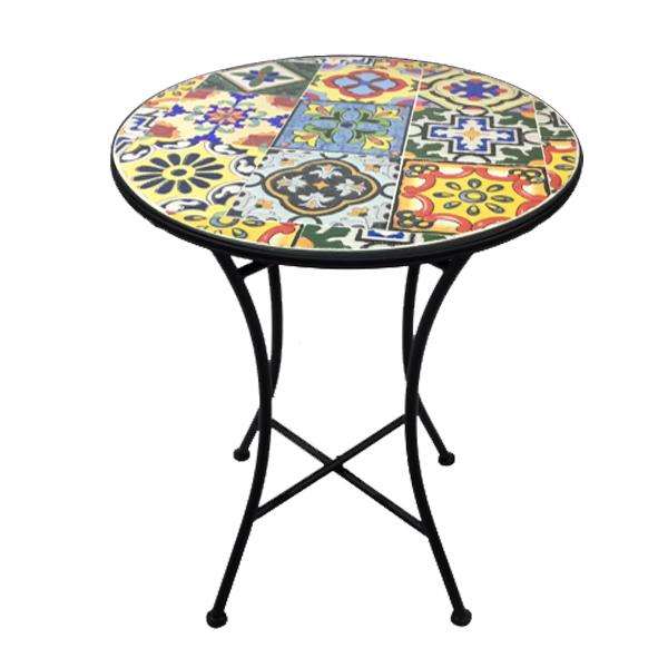 patio bistro table ceramic mosaic