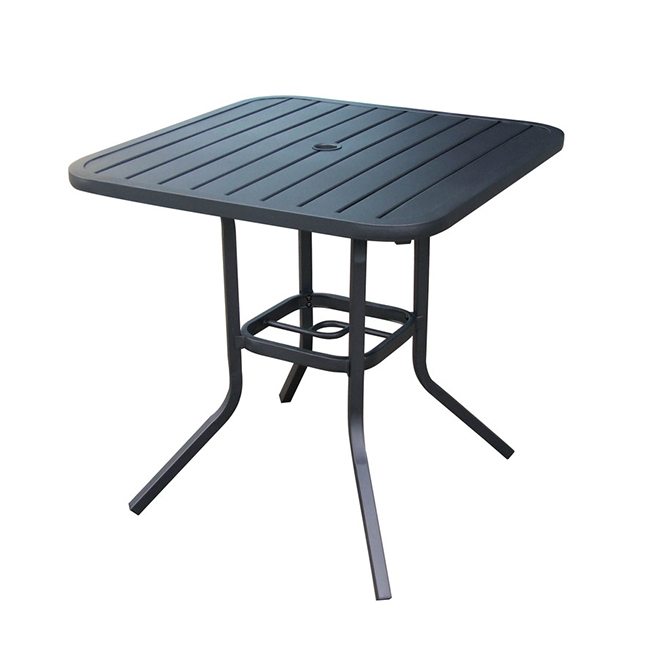 style selections pelham bay square patio bistro table 29 1 2 x 30 steel black