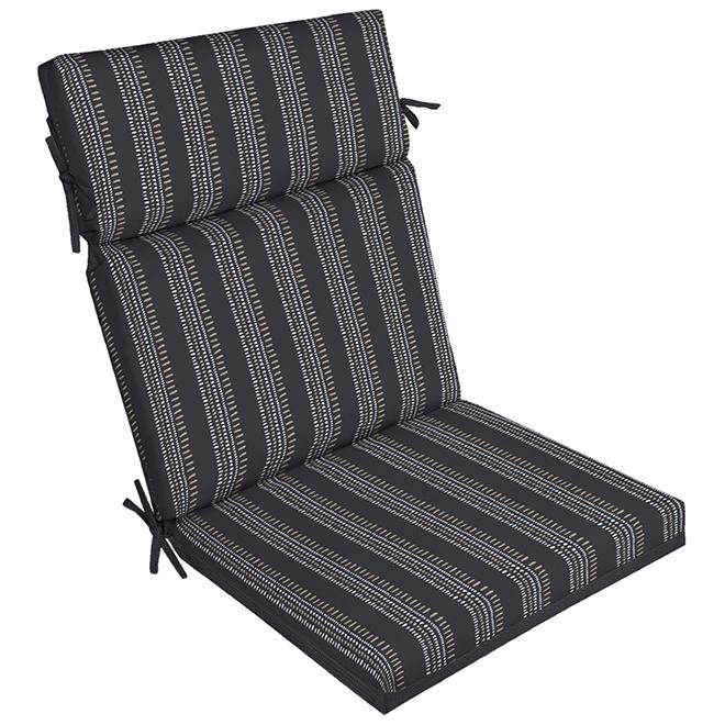 high back patio chair cushion polyester black
