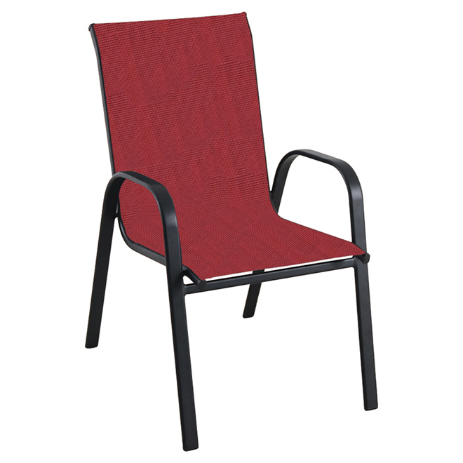 stackable patio chair powder coated steel frame red