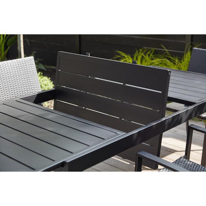 table a diner extensible pelham bay acier 61 x 37 x 30 noir mat