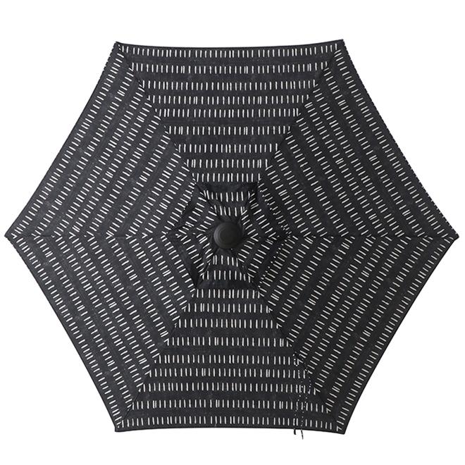 style selections striped market umbrella 7 5 ft black