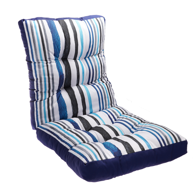 style selections high back patio chair cushion 46 in striped blue