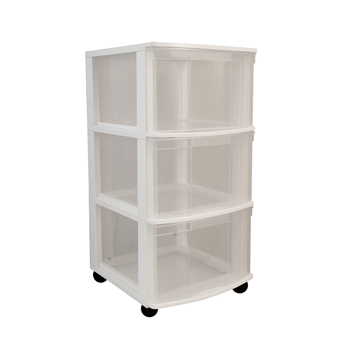 tour de rangement a 3 tiroirs blanc transparent
