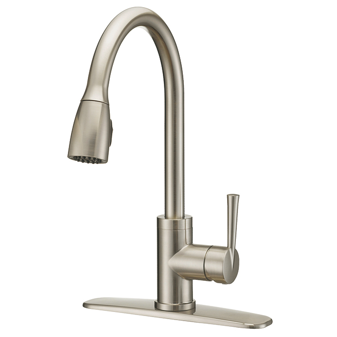 faucet with pull down spout 1 handle brushed nickel