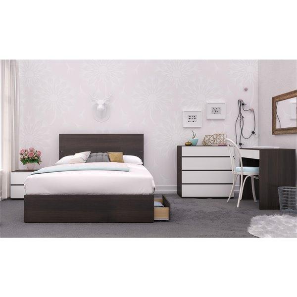 tete de lit double nexera effet de planches ebene