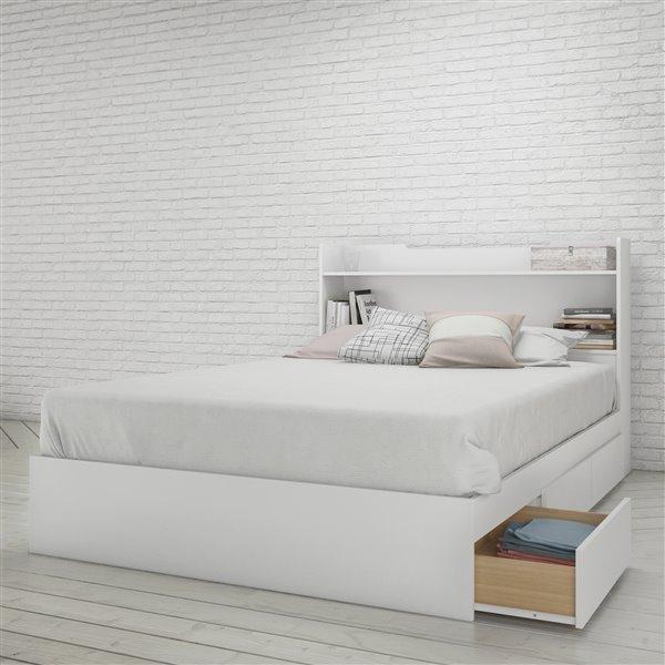 tete de lit rangement double nexera blanc