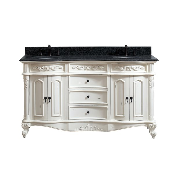 avanity provence 61 in double sink white bathroom vanity with granite top