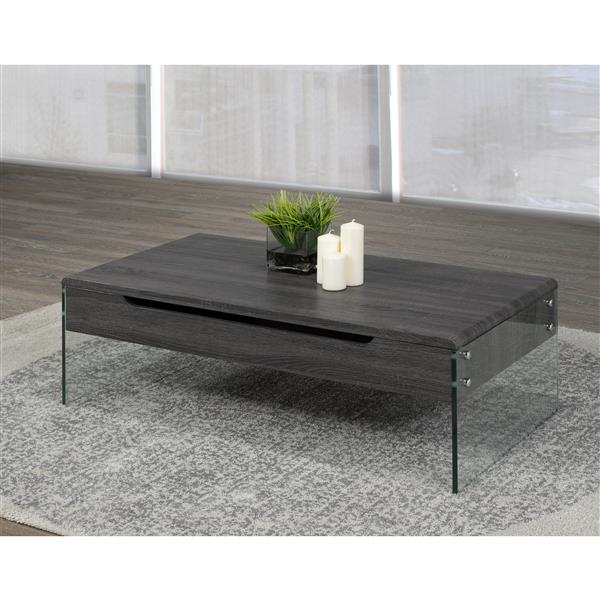 brassex 21 6 in x 21 6 in x 14 6 in grey wood rectangular lift top coffee table with glass frame
