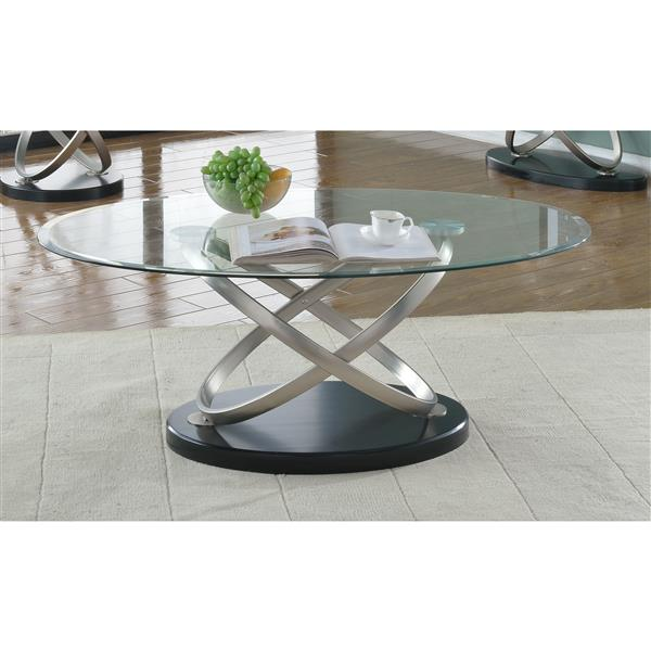 brassex chantal 30 in x 19 in metal frame and clear glass top oval coffee table