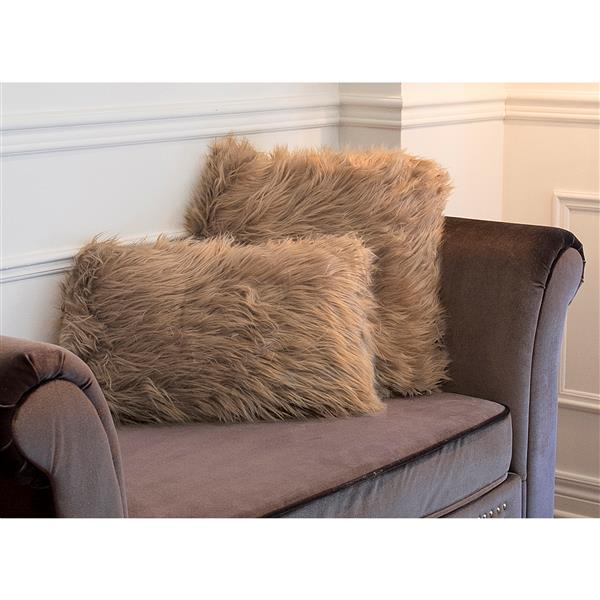 luxe belton 18 in square tan faux fur pillows 2 pack