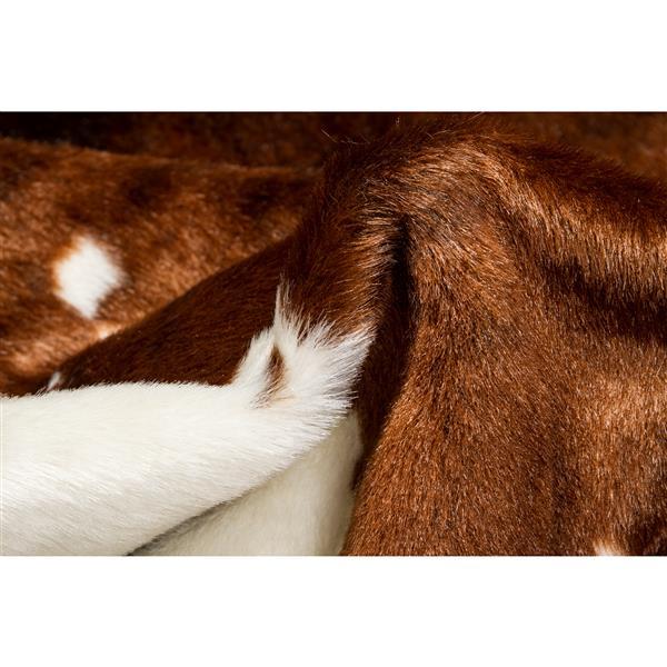 tapis en fausse en peau de vache 4 25 x 5 brun blanc