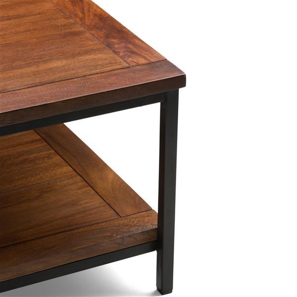 simpli home skyler 34 in x 34 in x 18 in with black metal legs and dark cognac brown solid mango wood top square coffee table