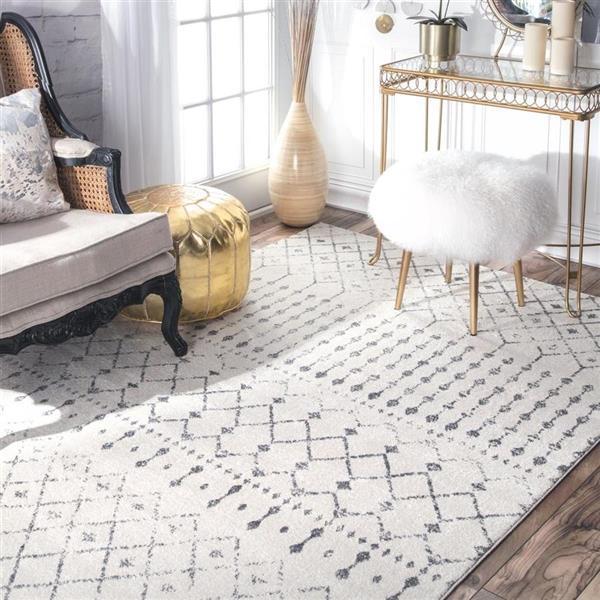 tapis d interieur carre 8 x 8 motif marocain blanc et gris