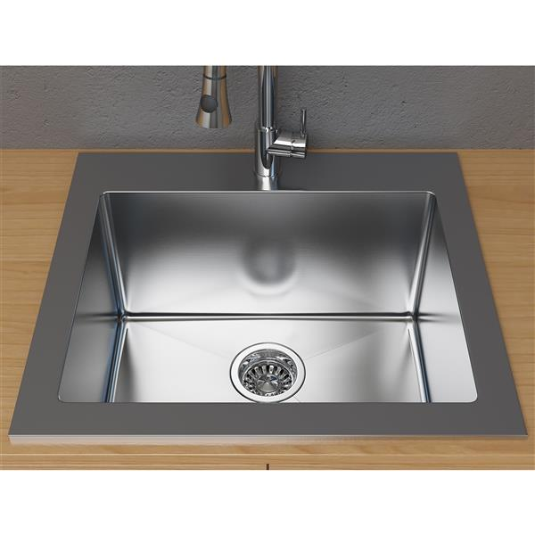 cantrio koncepts dual mount kitchen sink stainless steel 25 x 22