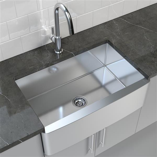 cantrio koncepts stainless steel farmhouse apron kitchen sink 33 x 21