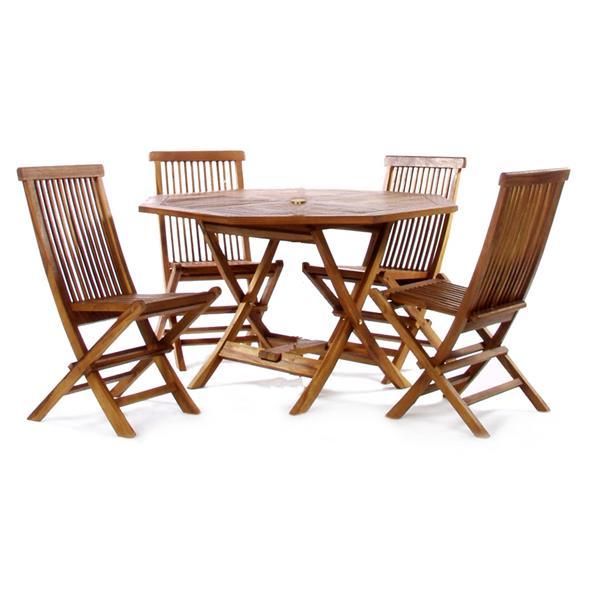 all things cedar 5 piece teak octagon table folding chair outdoor dining set