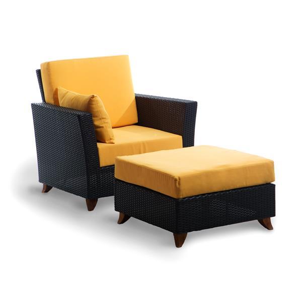 ensemble de chaise et pouf pour le patio brun et jaune