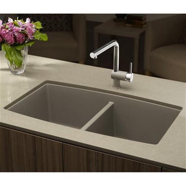 blanco performa 20 in x 33 in truffle silgranit undermount double bowl kitchen sink