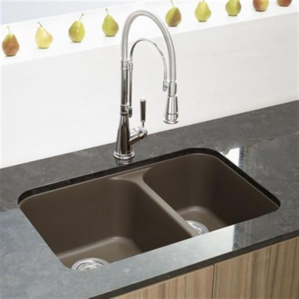 blanco vision silgranit cafe 18 in x 27 in double bowl undermount sink