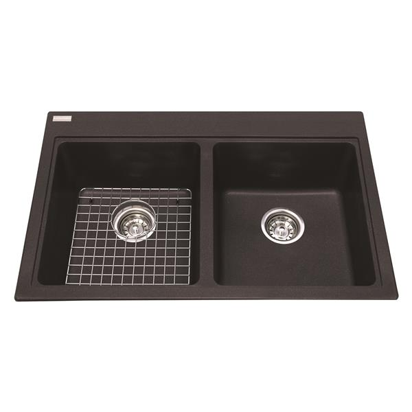 kindred granite black franke double sink 31 56 in x 20 5 in