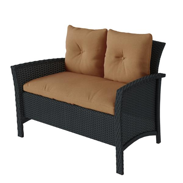 corliving black brown rattan 4 piece wicker patio set