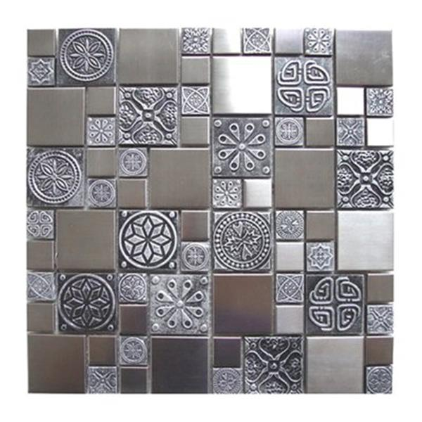 eden mosaic tiles roman pattern with accent tile stainless pewter 11 pack
