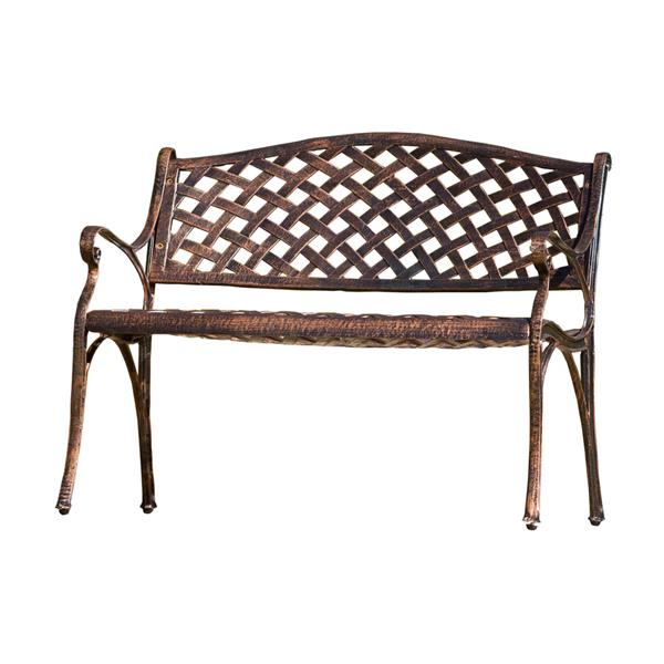 best selling home decor cozumel 23 in w x 40 in l antique copper aluminum patio bench