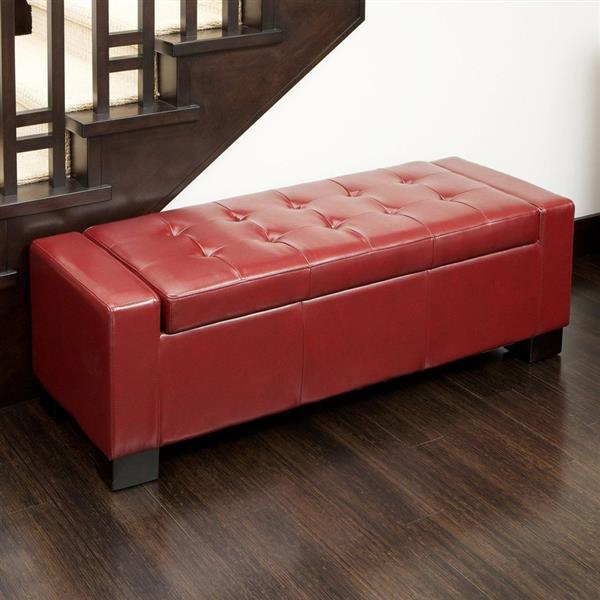 best selling home decor guernsey storage ottoman bench 51 bonded leather red