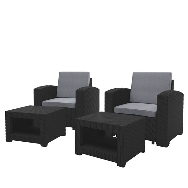 corliving outdoor chair and ottoman set black
