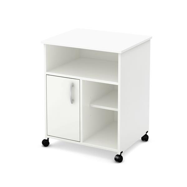 south shore furniture axess microwave cart with storage on wheels white