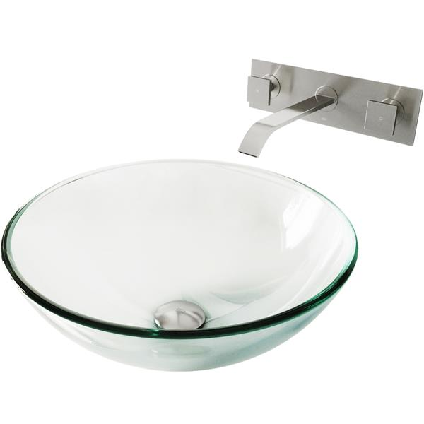 vigo glass vessel sink and wall mount faucet crystalline