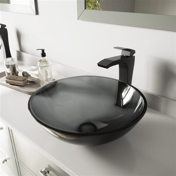 vigo glass vessel bathroom sink with faucet black