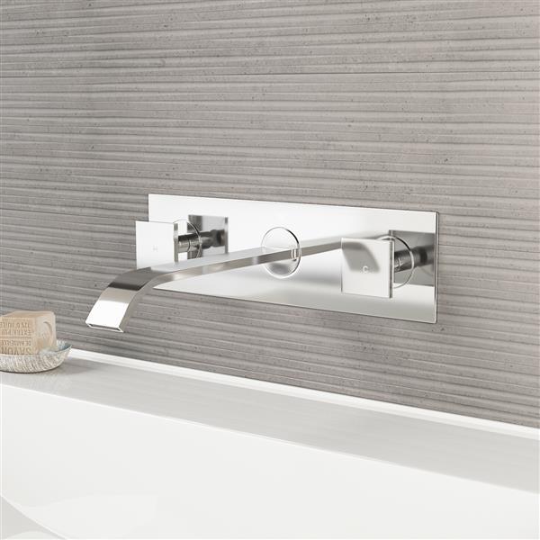 robinet de salle de bain mural titus chrome