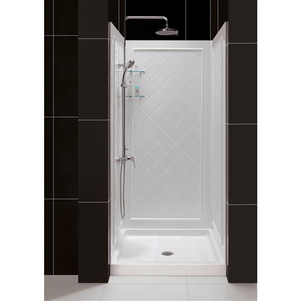 dreamline qwall 5 shower base kit 32 in acrylic white