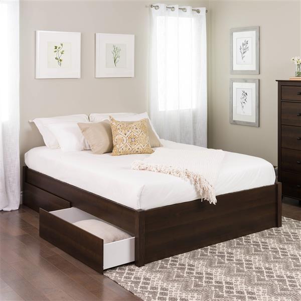base de grand lit plateforme avec quatre tiroirs espresso