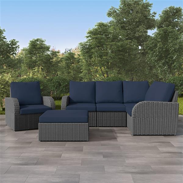 corliving corner sectional patio set charcoal grey navy blue 6pc