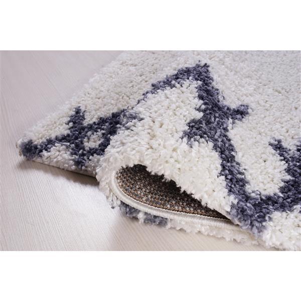 tapis a poil long abstrait casablanca 7 x 10 blanc