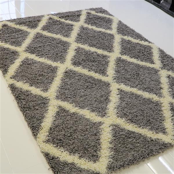 tapis a poil long moderne trellis 7 x 10 gris creme