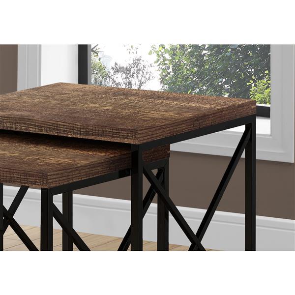 tables gigognes faux bois brun metal noir ensemble de 2
