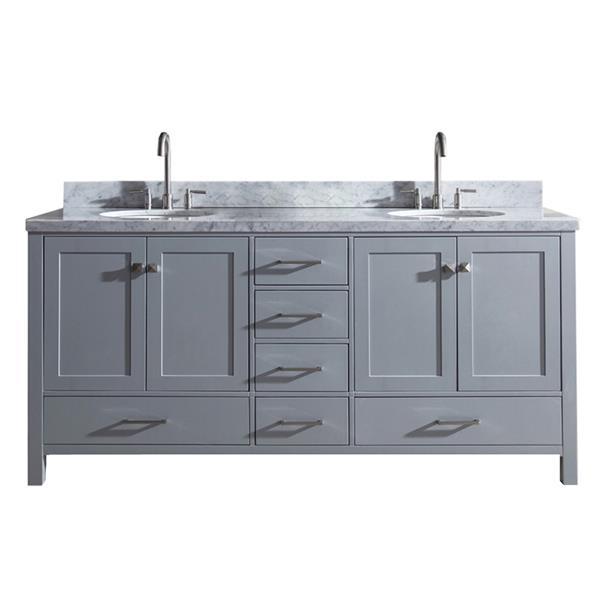 ariel double oval sink vanity 6 drawers 73 in grey
