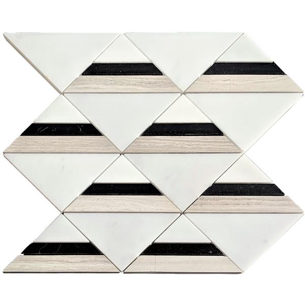 jl tile triangle marble mosaic tile black white beige 12 in x 12 in