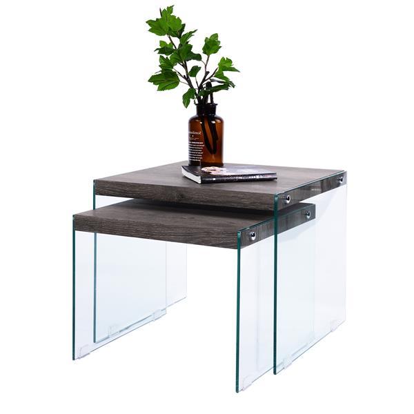 furniturer glass coffee table sets brown set of 2