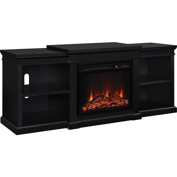 meuble tele manchester avec foyer electrique integre noir