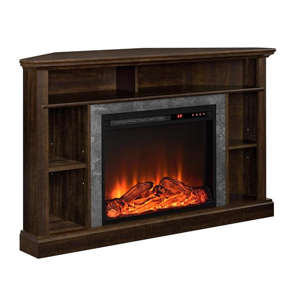 meuble en coin pour television overland foyer integre brun