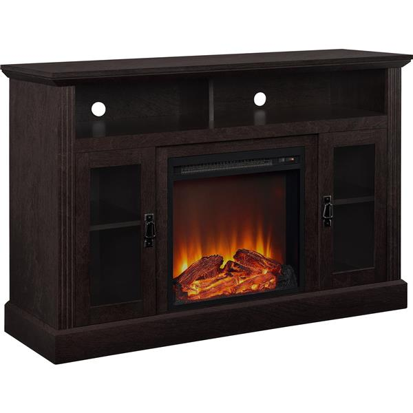 meuble tele chicago avec foyer electrique integre espresso