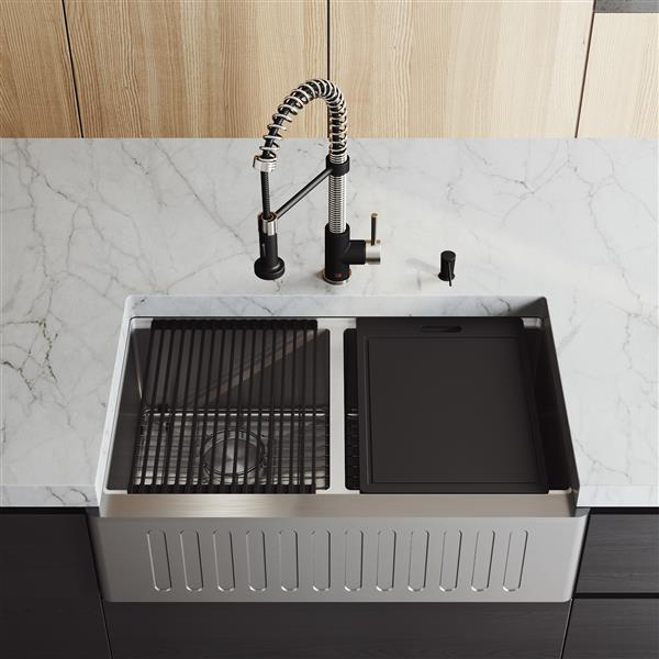 vigo oxford double bowl kitchen sink stainless steel edison kitchen faucet and soap dispenser 33 in