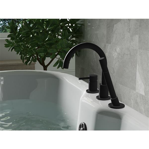 a e bath shower oxford deck mount faucet black