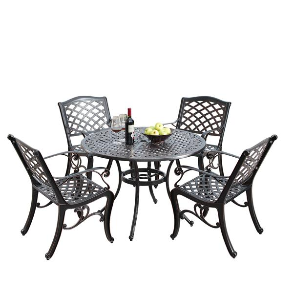 oakland living traditional outdoor dining set 42 in round table antique copper set of 5