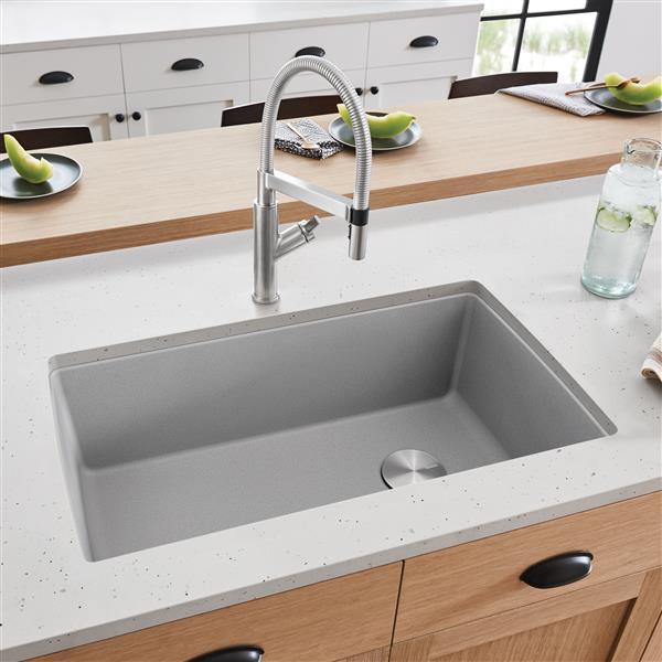 blanco diamond u super single undermount sink concrete grey